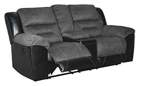 Signature Design by Ashley - Earhart Contemporary Double Reclining Loveseat with Console, Gray