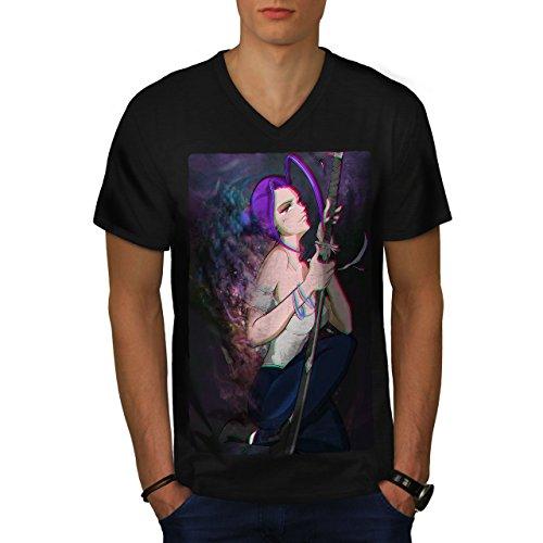 Wellcoda Anime Samouraï Sa Fantaisie Homme T-Shirt à col en V Épée T-Shirt Graphique