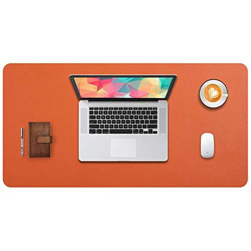 DOBAOJIA Tappetino per Mouse Grande Mouse Pad Mat XL Sottomano da Ufficio Tappetino da Tavolo Pad per Scrivania Laptop, Pelle PU Impermeabile + Scamosciata Antiscivolo 80 x 40 cm (Mandarino)