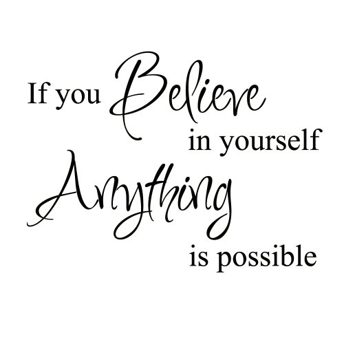 Believe in Yourself Inspirational Motivational Kid Quote Lettering Decor Saying Sticker Art Vinyl Large Wall Decal Decoration (Black, Large) by WallsUp