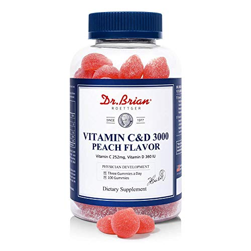 Dr.Brian Vitamin C D3 Gummies for Kids Children Adults Helps Immune Support and Bones Health Multivitamin Vitamin C Vitamin D Chewable Gummies for Immnue Booster Addictive-Free VC Vit D Gummy 100count