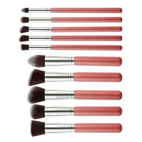 Gazechimp 10pcs/Set Pinceaux de Maquillage en Fibre Cheveux pour Fondation Fard à Paupières- Rose Argent