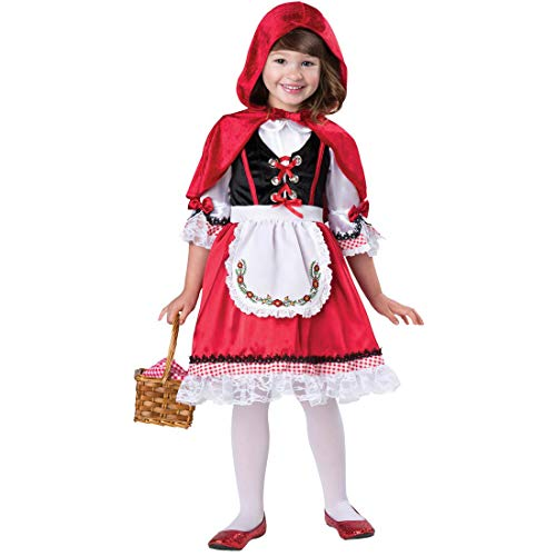 Yiwa Girl Lace Panel German Dirndl Dress for Oktoberfest Halloween Little Red Riding Hood Cosplay Costume red S