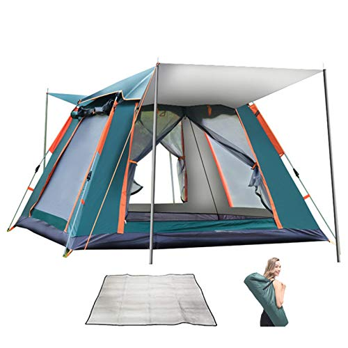 6-7 Person Tent Family Camping Quick Setup Automatic Outdoor Family Camping Rainproof Self-driving Tent Instant Cabin Tent, with Carry Bag and Moisture-proof PadGreen
