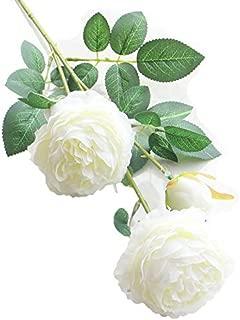 Artfen 5 Pack 3 Heads Artificial Silk European Rose Flower Peony Flower Long Stem Fake Plastic Flowers Home Garden Party Wedding Decoration DIY Wreath Approx 26'' High White
