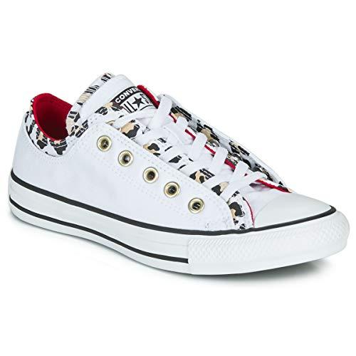 Converse Chuck Taylor All Star Double Upper Varsity Remix Sneaker Damen Weiss/Leopard - 35 - Sneaker Low