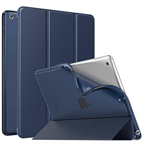 MoKo Funda Compatible con iPad 9.7 5th/6th Generation, Ultra Delgado Función de Soporte Protectora Plegable Cubierta Inteligente Trasera Transparente para iPad 9.7