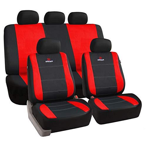 eSituro universal Sitzbezüge für Auto Schonbezug Schoner Komplettset schwarz/rot SCSC0113
