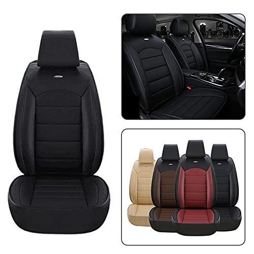 Dinuoda Fundas de asiento de coche PU Cojín de cuero delantero estándar 2 asientos para Hummer H1 H2 H3 Estera de asiento de coche Cómodo cojín suave almohadilla de protección (negro)