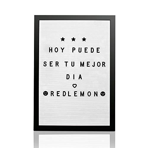 Redlemon Pizarrón y Letrero de Madera Vintage, de Letras Intercambiables (340 Letras, Números, Signos y Emojis). Con Gancho para Colgar, Ideal para Restaurante o Tienda. 30 cm x 45 cm, Blanco
