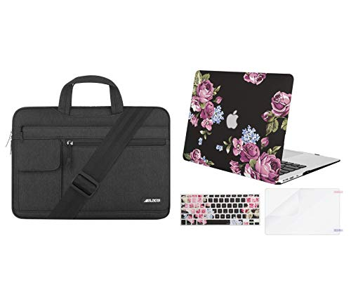 MOSISO Plastic Peony Hard Case & Laptop Shoulder Bag Compatible with MacBook Air 13 (A1369 & A1466, Older Version 2010-2017 Release), Black