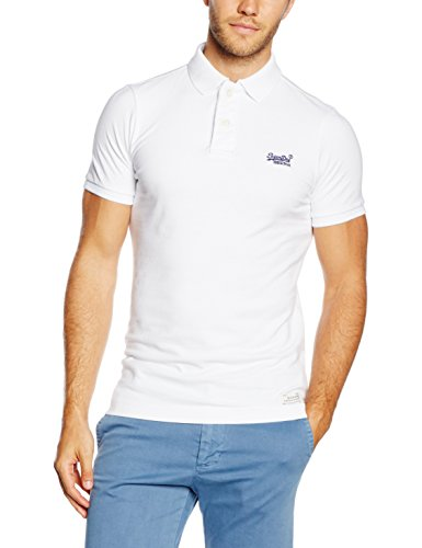 Superdry Vintage Destroyed SS Pique POL Polo, Weiß, M Homme