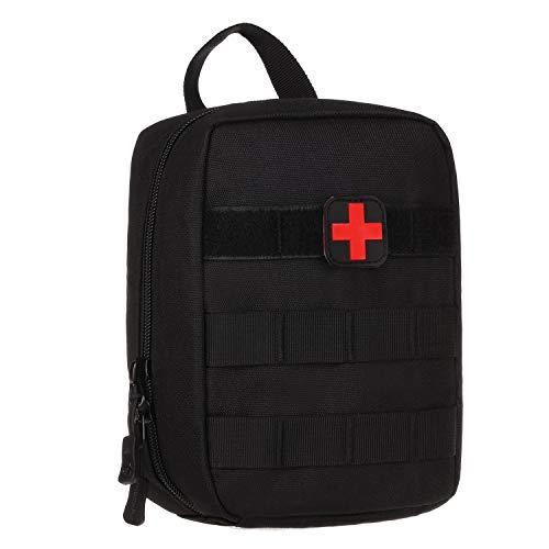 Huntvp Molle Erste Hilfe Tasche mit Rotkreuz Patch Leer Taktische Notfalltasche kleine MedizintascheWasserdicht EDC Pouch Militärisch First-Aid Medikamentetasche- Schwarz