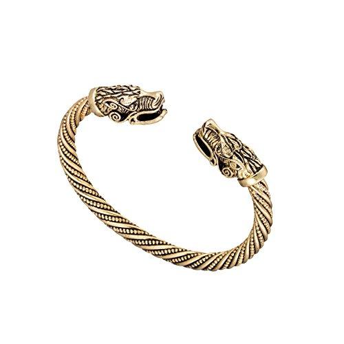Vintage Viking Pagan Wolf Head Screw Metal Cuff Bangle Wristband Bracelet Jewelry (Antique Gold)