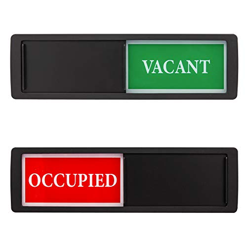 Privacy Sign - Vacant Occupied Sign for Home Bathroom Office Restroom Conference Hotel Hospital, Easy to Read Non-Scratch Magnetic Slider Door Indicator Sign with Clear, Bold & Colored Text - Black