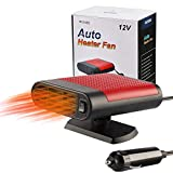 2020 Newest Upgrade Portable Car Heater Fast Heating Quickly Defrost Defogger Demister Heat Cooling Fan 12V/15W Auto Dryer Windshield Defroster Plug in Cigarette Lighter 360 Degree Rotary Base(Red)