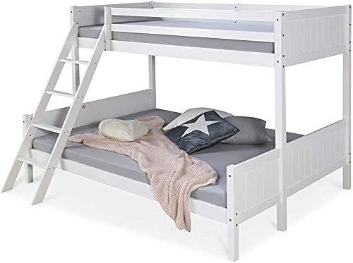 Cuna de bebé, 90x200 y 140x200 litera, cama alta, pino,White