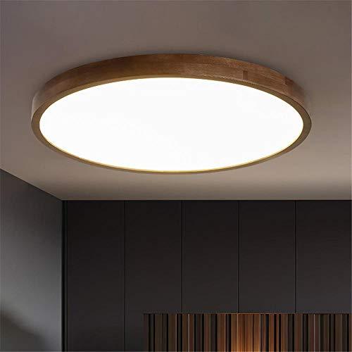 Dimmbar Deckenlampe,Schwarz Nussbaum Massivholz Deckenleuchte chinesische ultradünne runde LED-Licht dimmbar-Tri-Ton light_40 * 40 * 7cm-20W