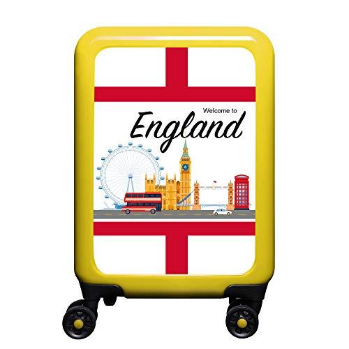made2trade - Trolley Rigido da Viaggio, con Varie Stampe, 32 Litri, Colore: Giallo, Inghilterra