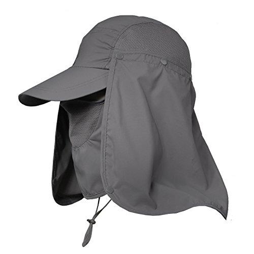 Jormatt Women & Men Outdoor Sun Hat Fishing Hiking Running Gardening Hat with Face Neck Flap Protection Cover Removable Summer UPF 50+ Folding UV Sun Cap,Dark Gray