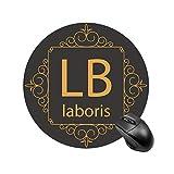 Monogram Letras 'LB' con bordes decorativos para escritorio y portátil, 1 paquete de alfombrilla redonda para ratón