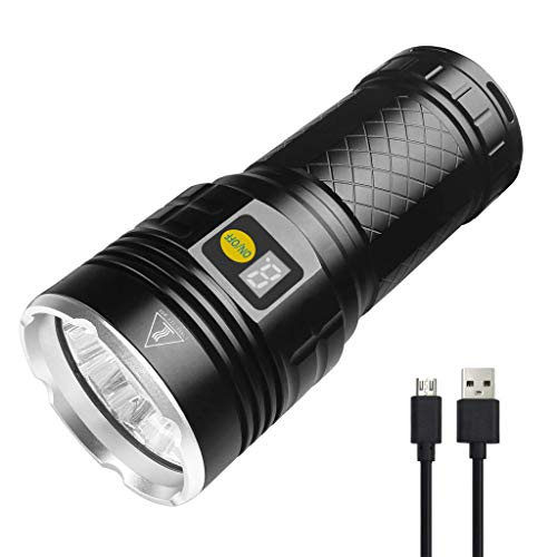Semlos LED taschenlampe 10000 Lumen, 12xLEDs taschenlampe extrem hell, Type-C USB Schnelles Wiederaufladbare, 4 Modi, Power-Display-Funktion, Eingebaute Batterie, IPX-5 Wasserbeständigkeit