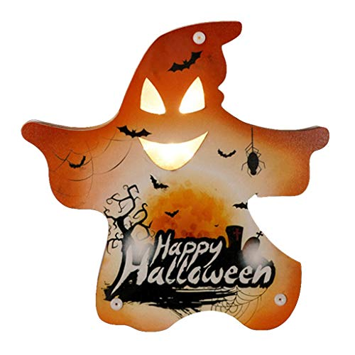 ZZALLL Halloween Decoration Atmosphere Night Light Wooden Lamp Desk Ornaments Bar - 11#