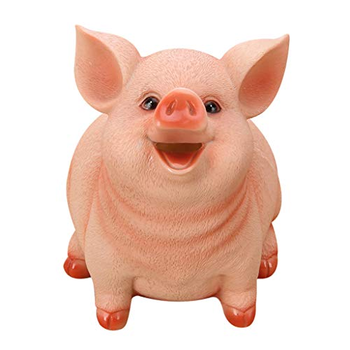 icoXXch Piggy Bank Cute Cartoon Pig Safe Money Box Resin Craft Shatterproof Coin Saving Bank Storage Shaped Box, Best Christmas Birthday Gifts for Kids Boys Girls Home Decoration