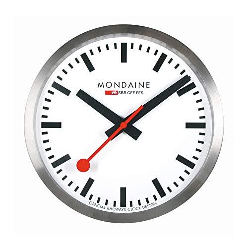Mondaine Wanduhr - Silber Bahnhofsuhr - Edelstahl, A995.Clock.16SBB, 40 cm