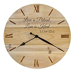Bjerg Instruments Rustic Wood Wall Clock for Wedding or Anniversary with Bible Verse