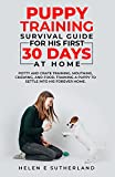 Puppy Training Survival Guide For His First 30 Days At Home: Potty and crate training, mouthing, chewing, and food. Training a puppy to settle into his forever home.