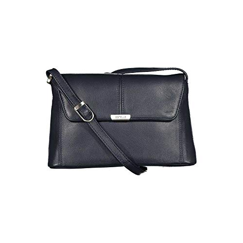 ESTELLE Leder Damentasche Umhängetasche Ledertasche 22 x 13 x 05 Oceanblau