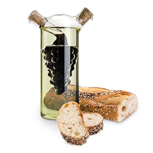 TWINE 2-in-1 oil & vinegar dispenser cruet bottle with cork stoppers, hand blown glass