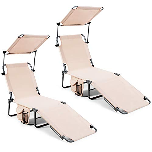 Giantex Lounge Chaise Chair Position and Shade Adjustable W/Canopy and Storage Pocket Folding Cot...