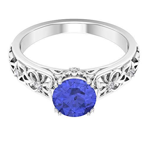 Anillo solitario de zafiro azul creado en laboratorio de 7 mm, anillo de moissanita D-VSSI, anillo de filigrana de oro, 14K Oro blanco, laboratorio de zafiro azul creado, Size:EU 53