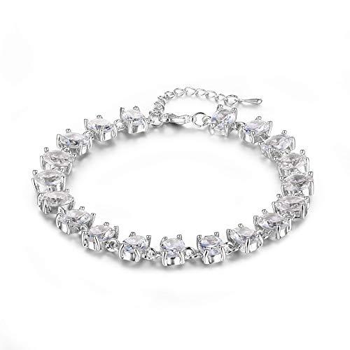 ZJZ Catena a Mano intarsiata in Lega di Fascia Alta Europea e Americana Versa Amazon Hot Jewelry Factory Direct BR0266 (Color : Plating White Diamond)