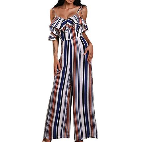 Combinaison Femme Chic pour soirée, Koly Jumpsuit Élégant Mode Rayée Combinaisons Longue Ébouriffé Dames sans Manches Overalls Sling Rompers Bleu EU 40(XL)