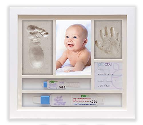 iPiccoli® Marco para huellas de niño y bebé, regalo bautizo y nacimiento, kit completo con Arcilla, porta pulseras de nacimiento