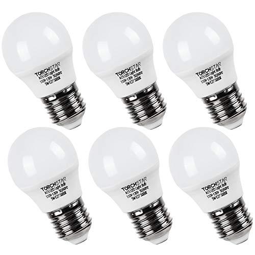 TORCHSTAR LED Refrigerator Light Bulb 40W Equivalent, A15 Fridge Bulb, 5W, E26/E27 Base, Wide Beam Angle for Freezer, Ceiling Fan Light, Desk Lamp, 5000K Daylight, Pack of 6