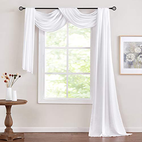 """Fmfunctex White Sheer Scarf Curtain for Living-Room Velvet Soft Touch Swag Valance for Windows 52"""" x 216"""" 1 Panel"""