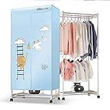 Secadoras De Ropa para Niños Domésticos Pequeño Armario Aire Caliente Conveniente Y Desmontable, con Ruedas Móviles En La Parte Inferior (Color : Blue, Size : 71.5 * 44.5 * 130.5cm)
