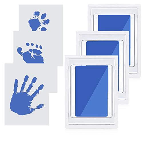 JustFine® 3 pcs Baby Handabdruck und Fußabdruck Set, baby fussabdruck set, Pfotenabdruck Set Hund, Pfotenabdruck Set Katze, clean touch stempelkissen, sicher ungiftig Stempelkissen