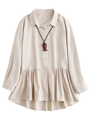 Mallimoda Damen Leinen Tunika Kleid Langarm Freizeit Oberteil Button-down Shirts Lange Bluse Hemd Leinen M