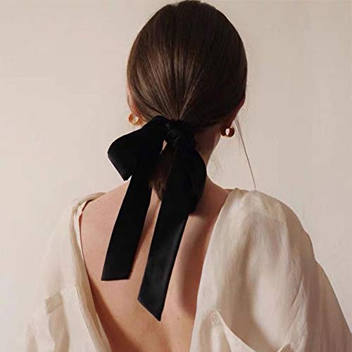 Black Handmade Soft Flannel Bow Hair Band for Women Girl , Vintage Romantic French Style Flower Hair Accessories, Wedding Party Decorative Hair Rope Valentine's Birthday Mother's Day Gift