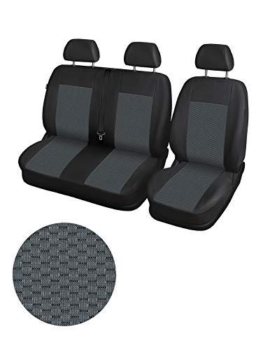 Set di coprisedili anteriori specifico per furgoni a 3 posti, Nero/Grigio
