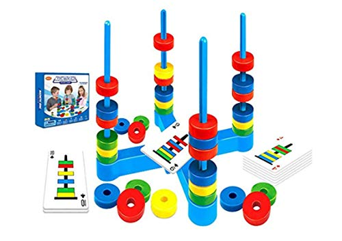 Magnetic Match Rings Board Game for 4 Kids Ages 3-8 Players Draw Cards to Place Rings with Attracting or Repelling Magnetism. Educational STEM, Teamwork, Matching Skills, Fun with Friends