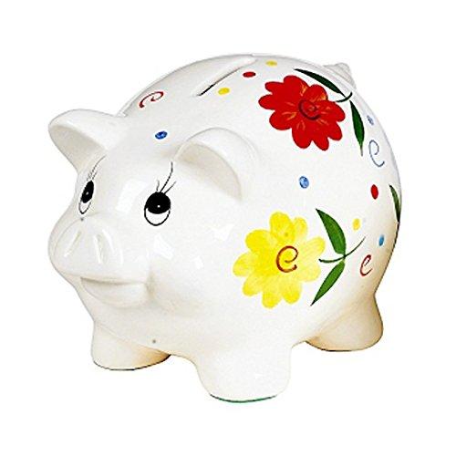 Porzellan-Sparschwein 'Blumendeko' mit Schloss, 18 cm