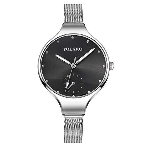 Powzz - Reloj de pulsera para mujer, esfera grande, correa fina, correa cepillada, correa de plata negra