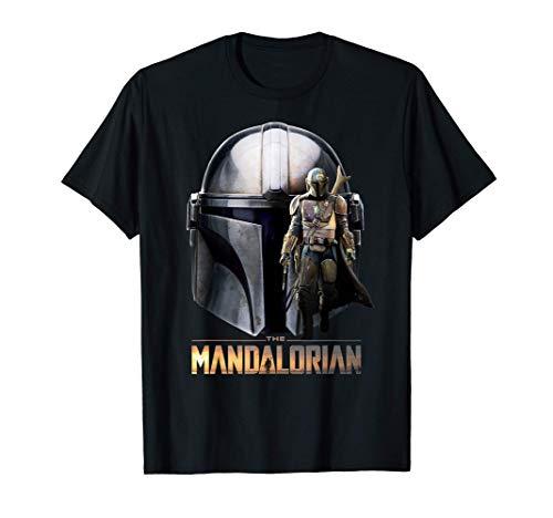 Star Wars The Mandalorian Helmet Portrait Mashup Camiseta