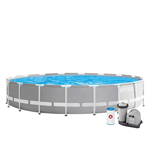 Intex Kit Piscine Prism Frame Ronde Tubulaire 6M10 x 1M32, Gris Clair